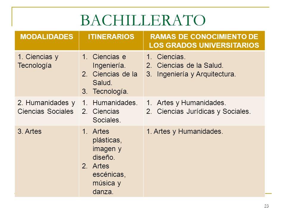 RAMAS DE CONOCIMIENTO DE LOS GRADOS UNIVERSITARIOS