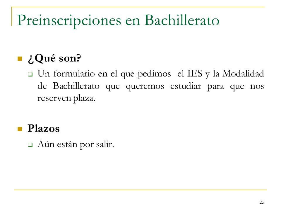 Preinscripciones en Bachillerato