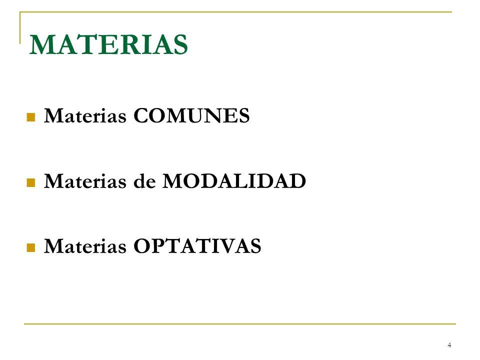 MATERIAS Materias COMUNES Materias de MODALIDAD Materias OPTATIVAS