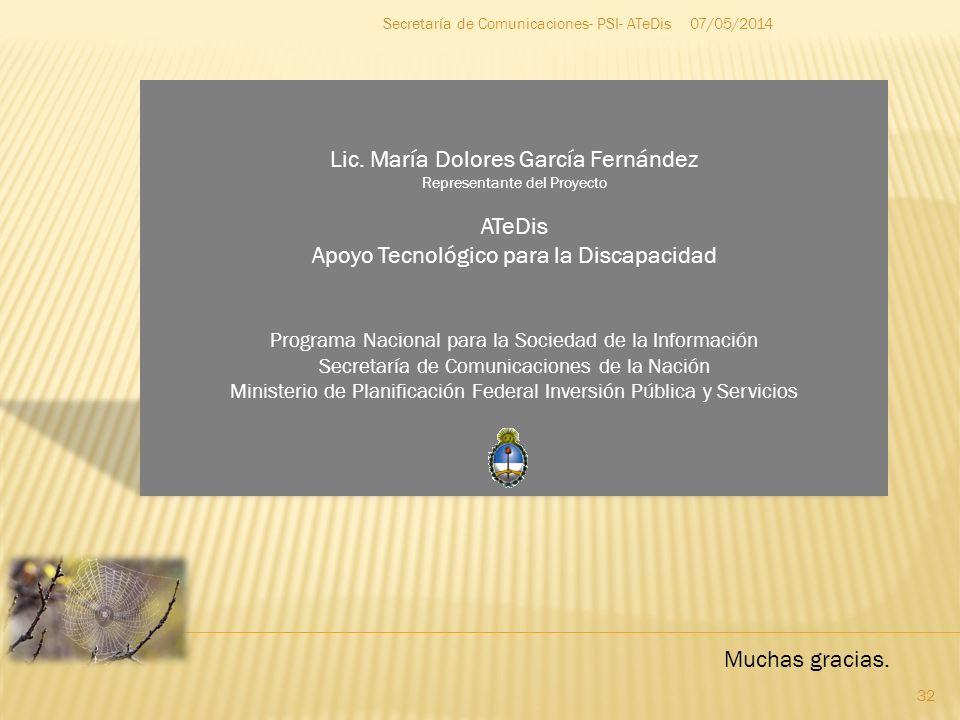 Lic. María Dolores García Fernández ATeDis