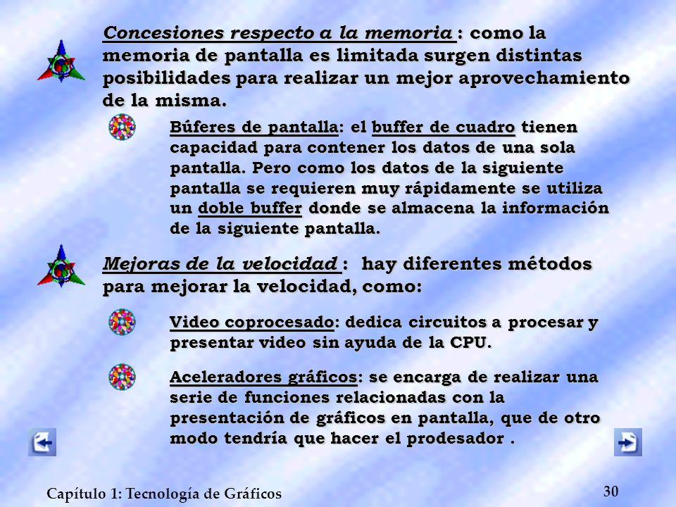Concesiones respecto a la memoria : como la memoria de pantalla es limitada surgen distintas posibilidades para realizar un mejor aprovechamiento de la misma.