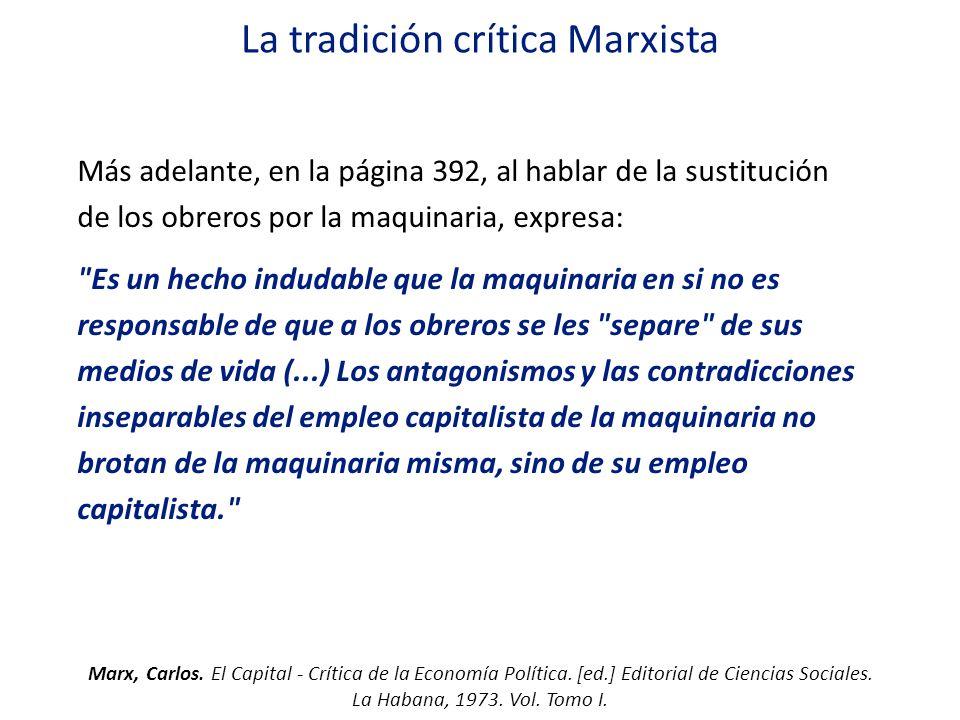 La tradición crítica Marxista