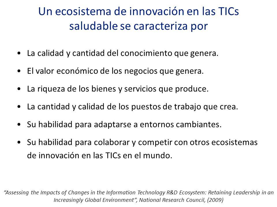 Un ecosistema de innovación en las TICs saludable se caracteriza por