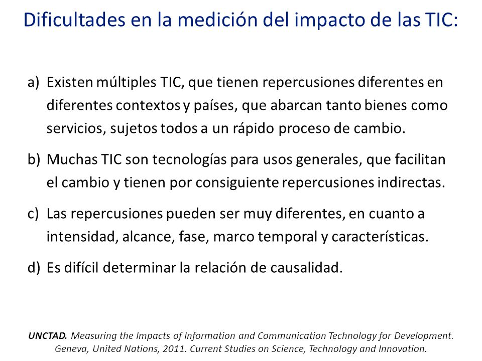 Dificultades en la medición del impacto de las TIC: