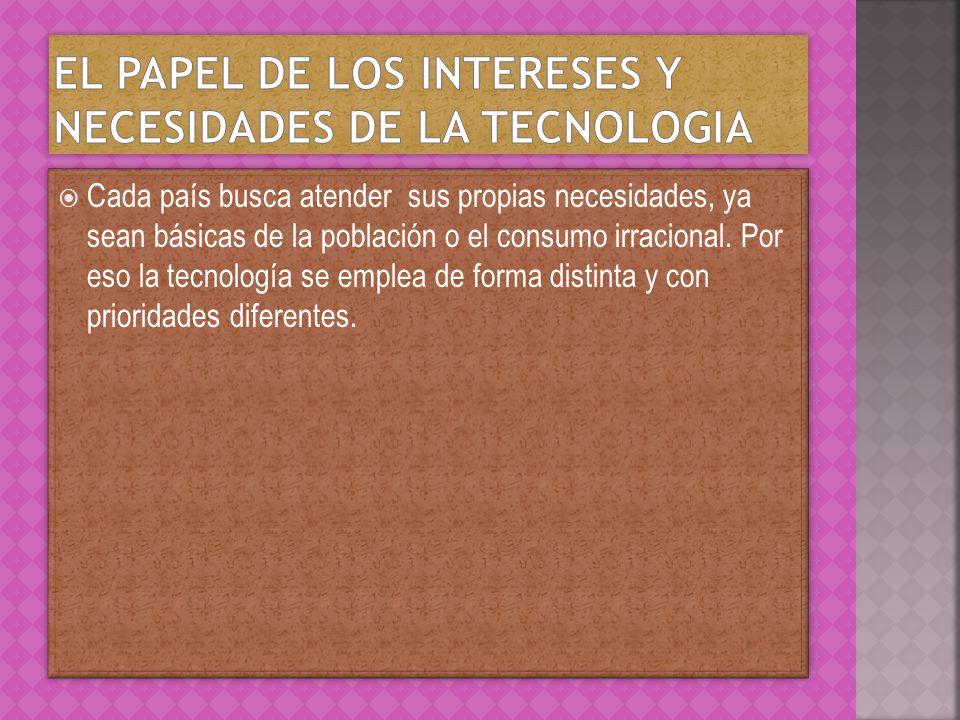El papel de los intereses y necesidades de la tecnologia