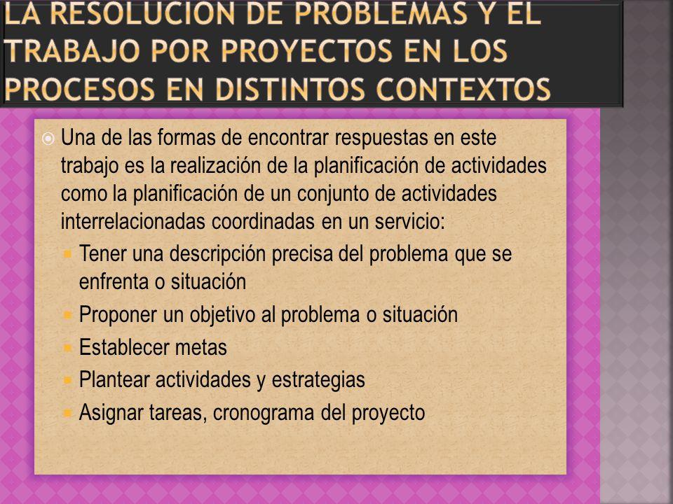 La resolución de problemas y el trabajo por proyectos en los procesos en distintos contextos