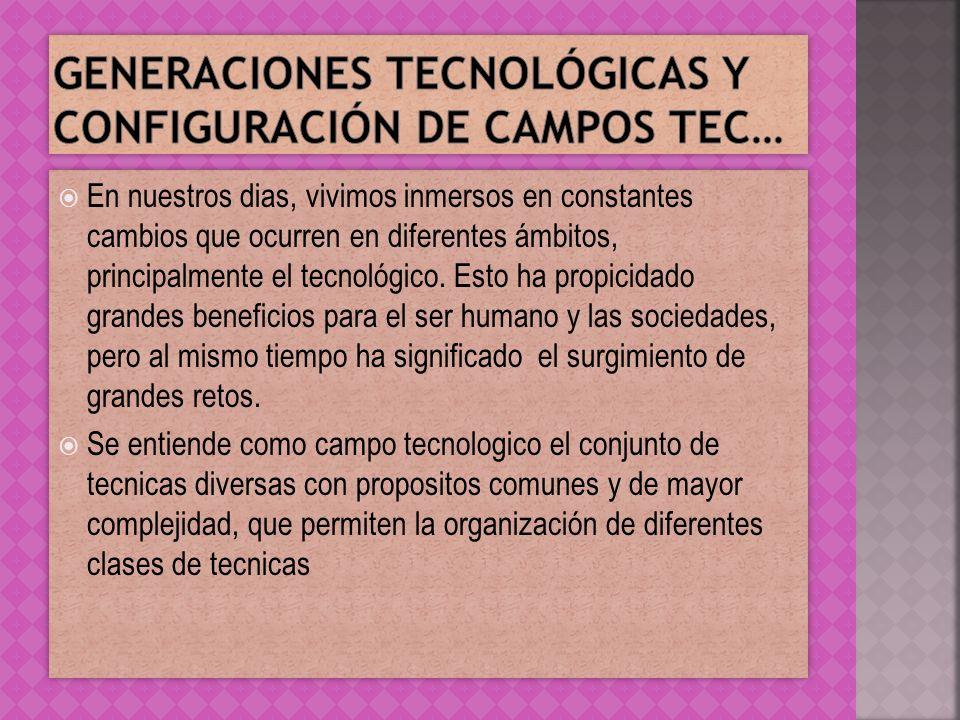 Generaciones tecnológicas y configuración de campos tec…