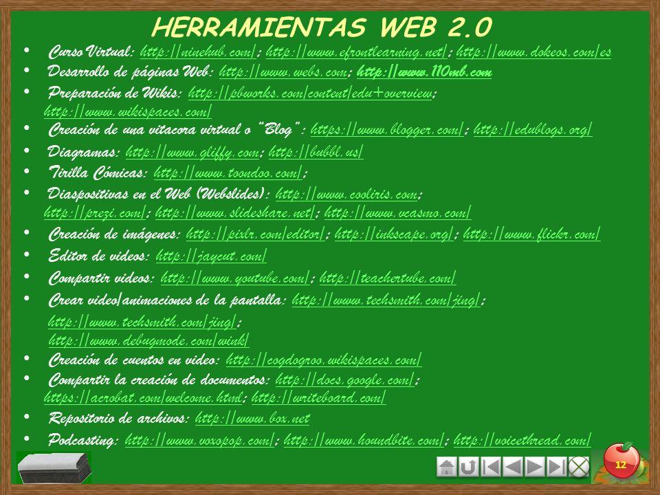 HERRAMIENTAS WEB 2.0 Curso Virtual: http://ninehub.com/; http://www.efrontlearning.net/; http://www.dokeos.com/es.