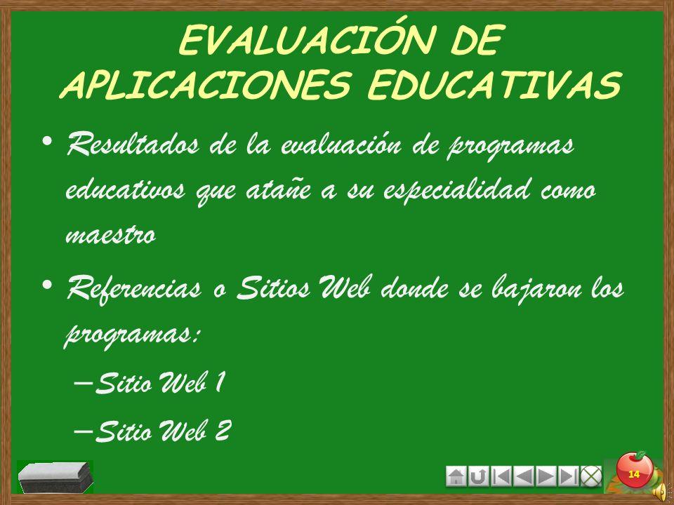 EVALUACIÓN DE APLICACIONES EDUCATIVAS