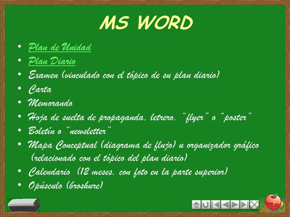 MS WORD Plan de Unidad Plan Diario