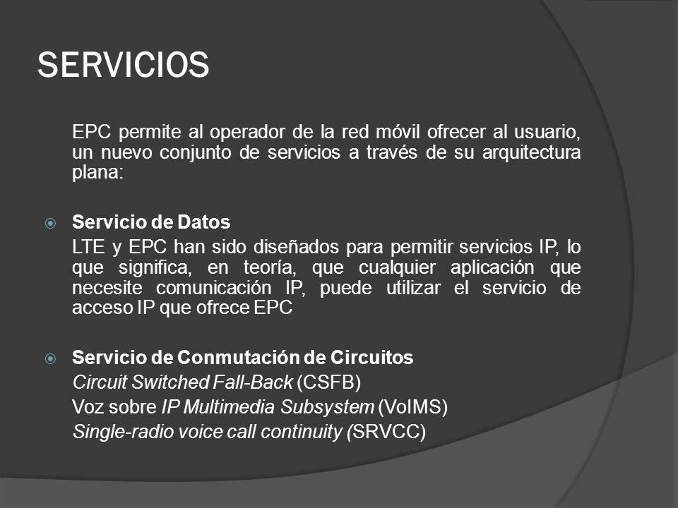 SERVICIOS EPC permite al operador de la red móvil ofrecer al usuario, un nuevo conjunto de servicios a través de su arquitectura plana: