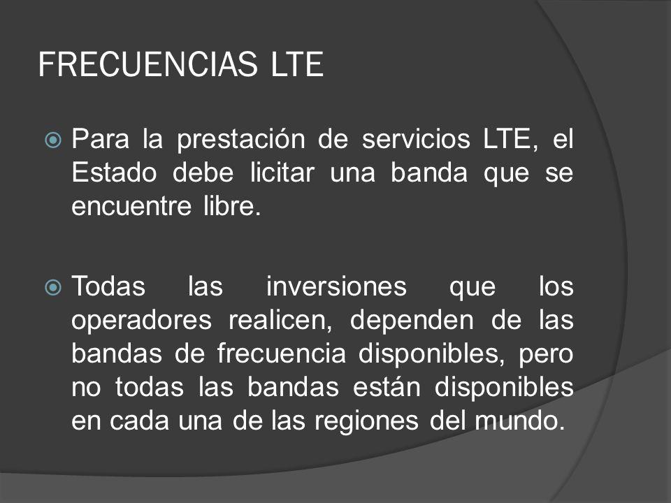 FRECUENCIAS LTE Para la prestación de servicios LTE, el Estado debe licitar una banda que se encuentre libre.