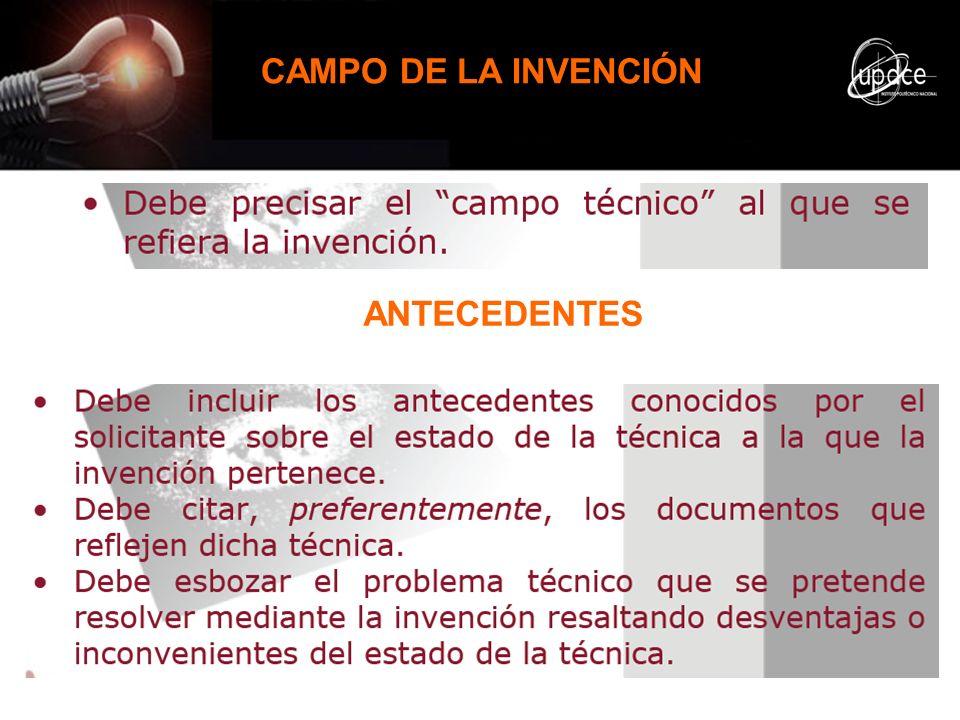 CAMPO DE LA INVENCIÓN ANTECEDENTES
