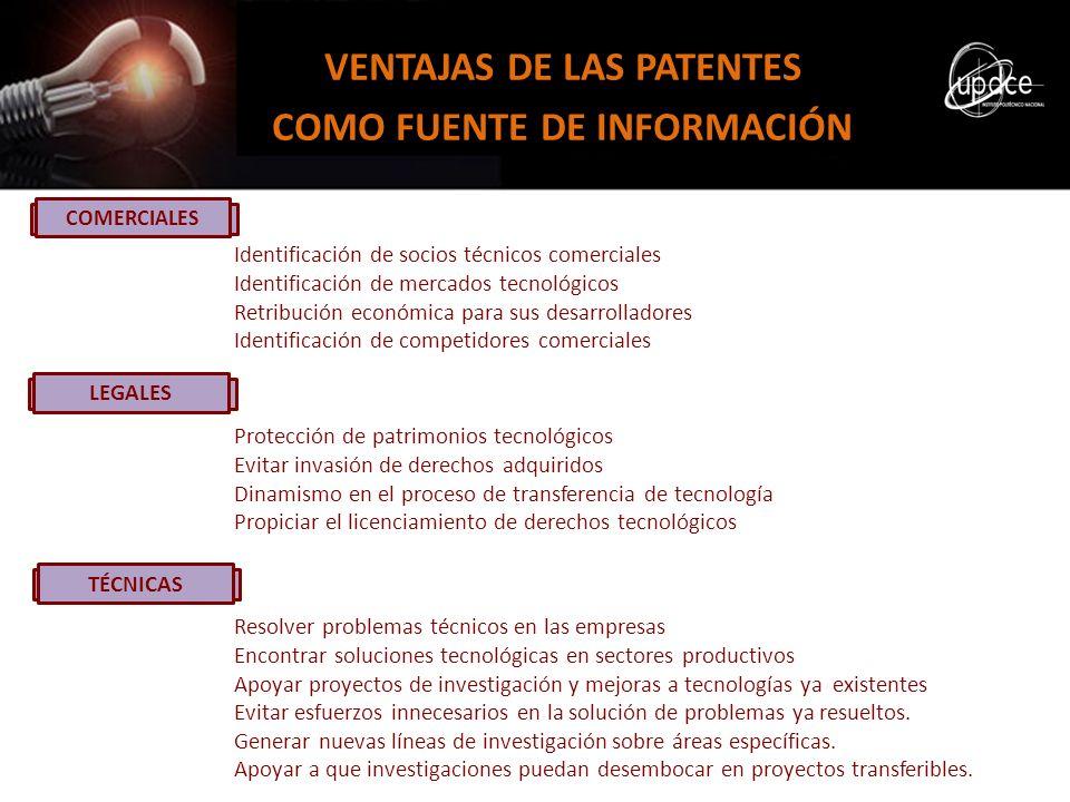 VENTAJAS DE LAS PATENTES COMO FUENTE DE INFORMACIÓN