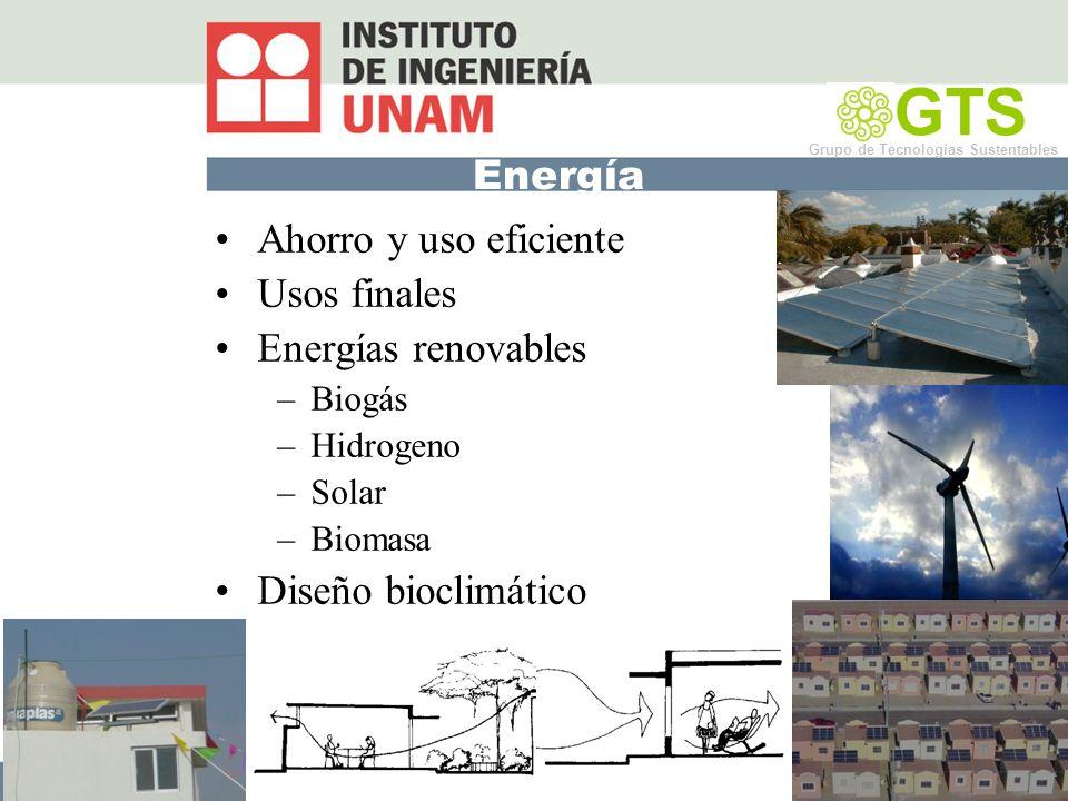 GTS Energía Ahorro y uso eficiente Usos finales Energías renovables