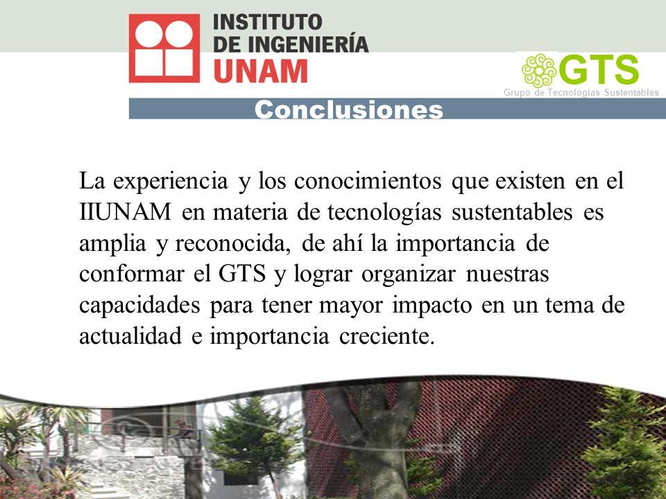 GTS Grupo de Tecnologías Sustentables. Conclusiones.