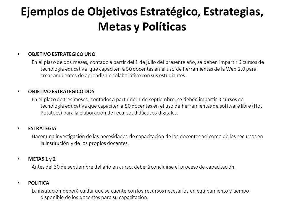 Ejemplos de Objetivos Estratégico, Estrategias, Metas y Políticas