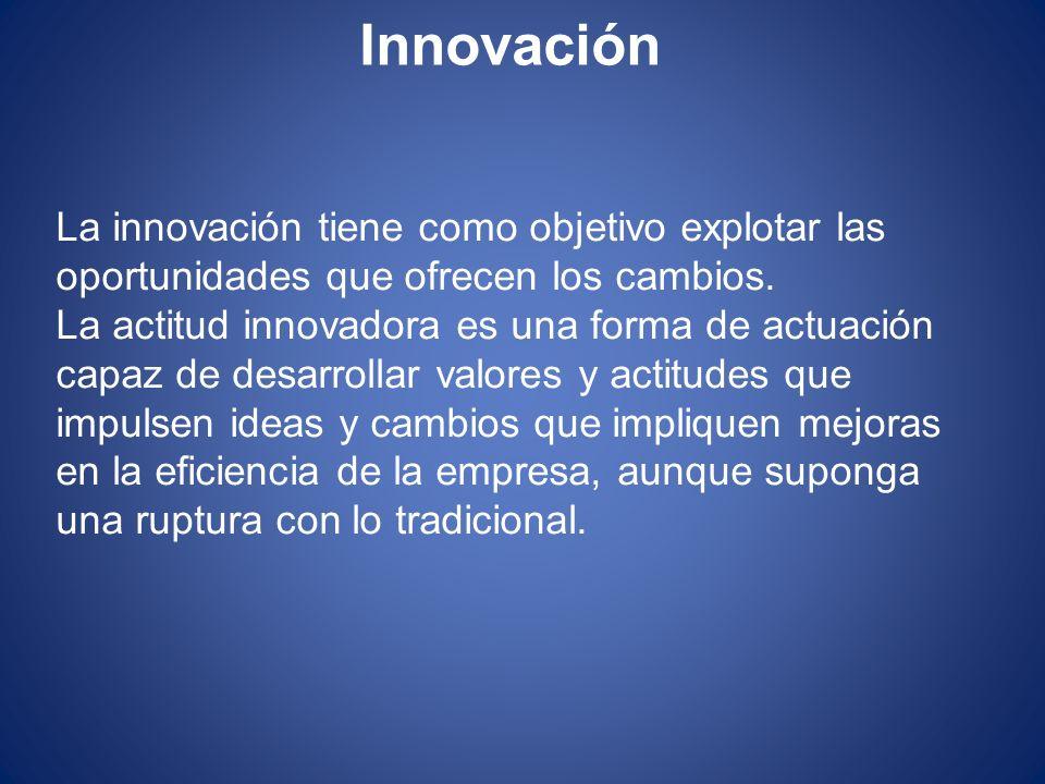 Innovación La innovación tiene como objetivo explotar las oportunidades que ofrecen los cambios.