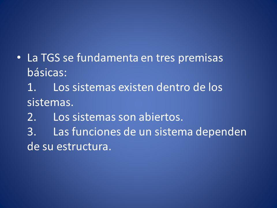 La TGS se fundamenta en tres premisas básicas: 1
