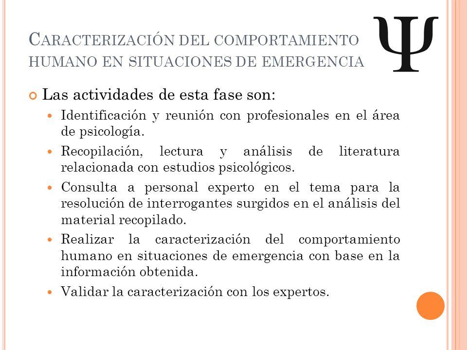 Caracterización del comportamiento humano en situaciones de emergencia