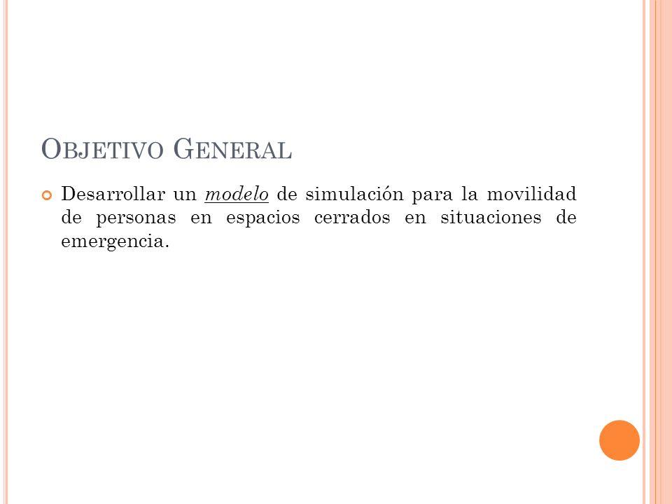 Objetivo GeneralDesarrollar un modelo de simulación para la movilidad de personas en espacios cerrados en situaciones de emergencia.