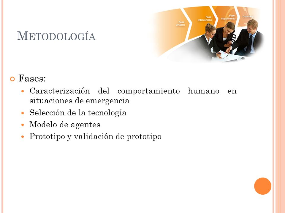 Metodología Fases: Caracterización del comportamiento humano en situaciones de emergencia. Selección de la tecnología.