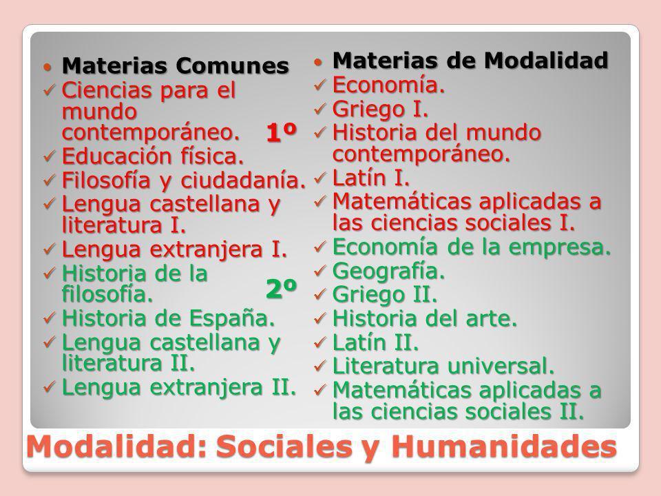 Modalidad: Sociales y Humanidades