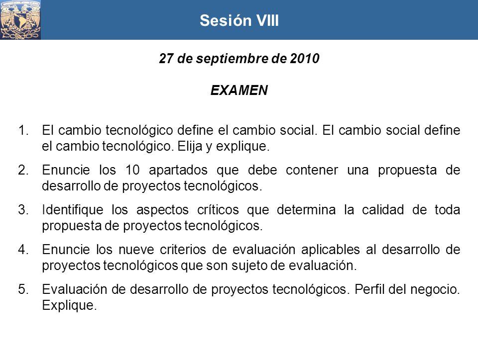 Sesión VIII 27 de septiembre de 2010 EXAMEN
