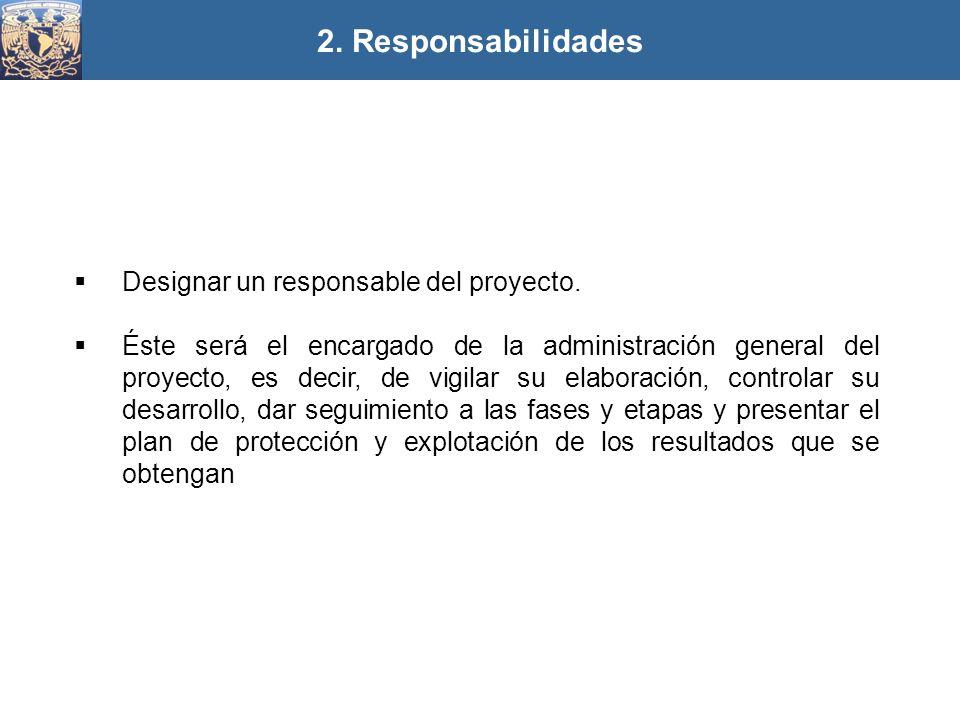 2. Responsabilidades Designar un responsable del proyecto.