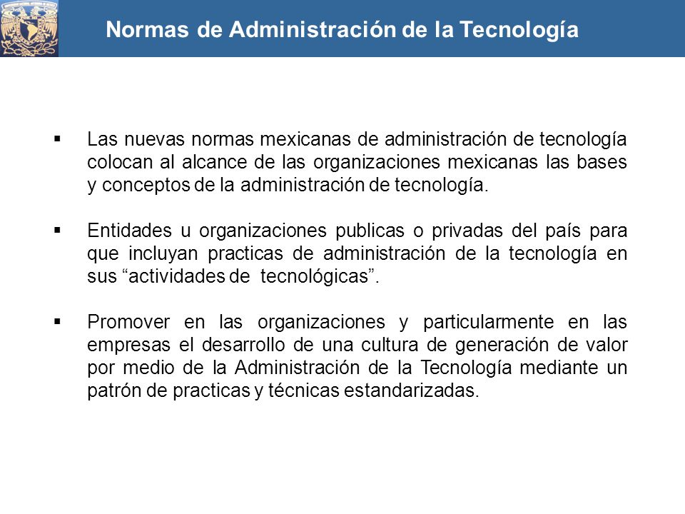 Normas de Administración de la Tecnología