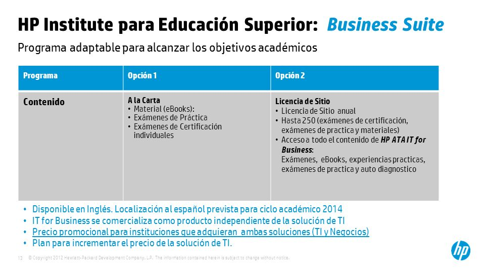 HP Institute para Educación Superior: Business Suite