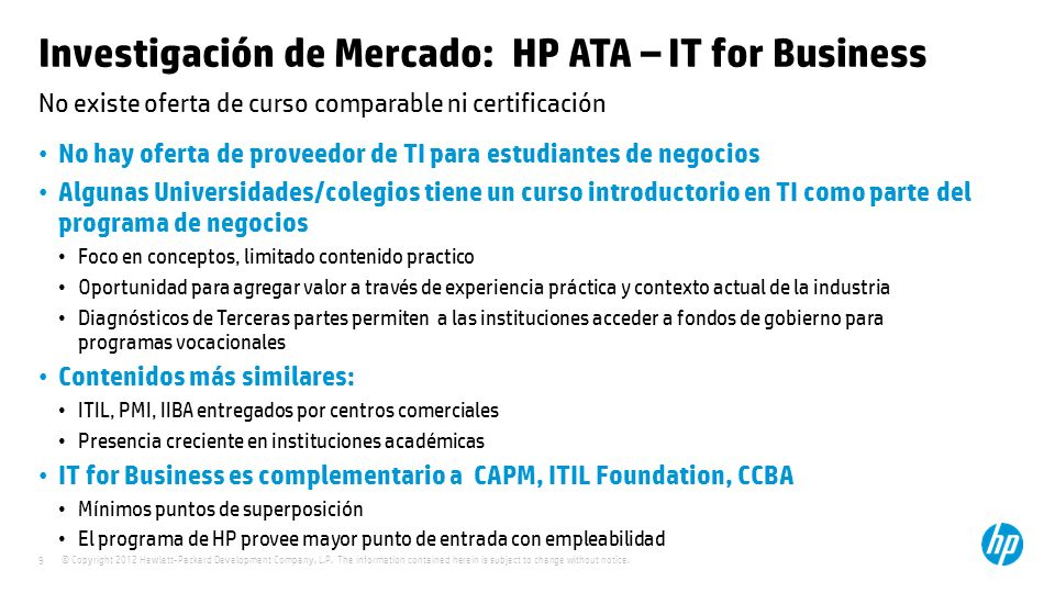 Investigación de Mercado: HP ATA – IT for Business