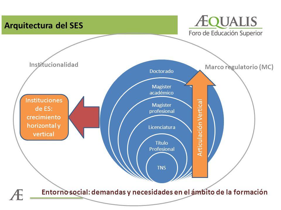 Arquitectura del SES Institucionalidad. Doctorado. Magister académico. Magister profesional. Licenciatura.