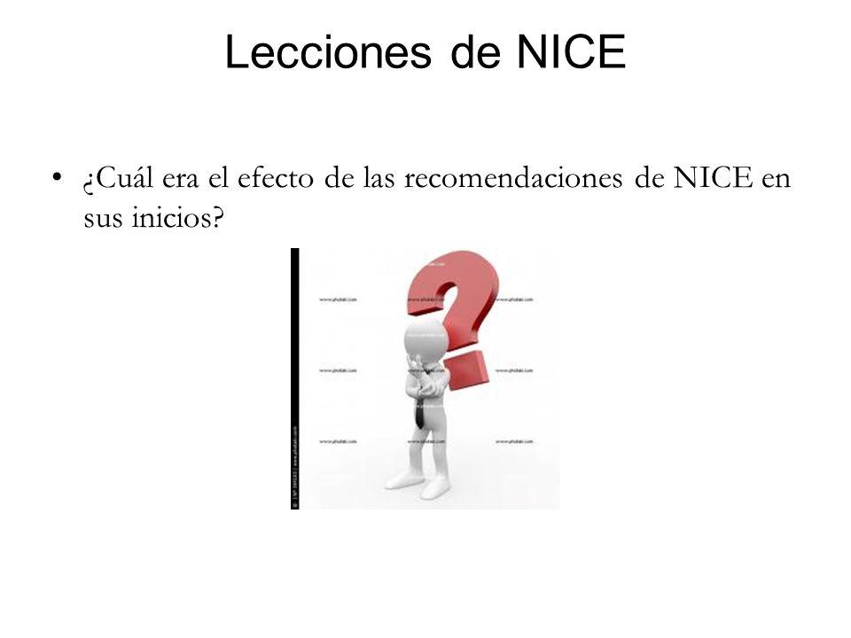 Lecciones de NICE ¿Cuál era el efecto de las recomendaciones de NICE en sus inicios