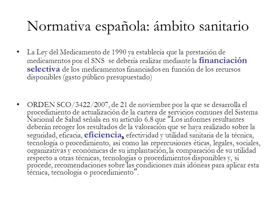 Normativa española: ámbito sanitario