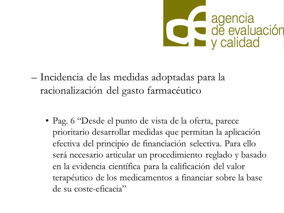 Incidencia de las medidas adoptadas para la racionalización del gasto farmacéutico