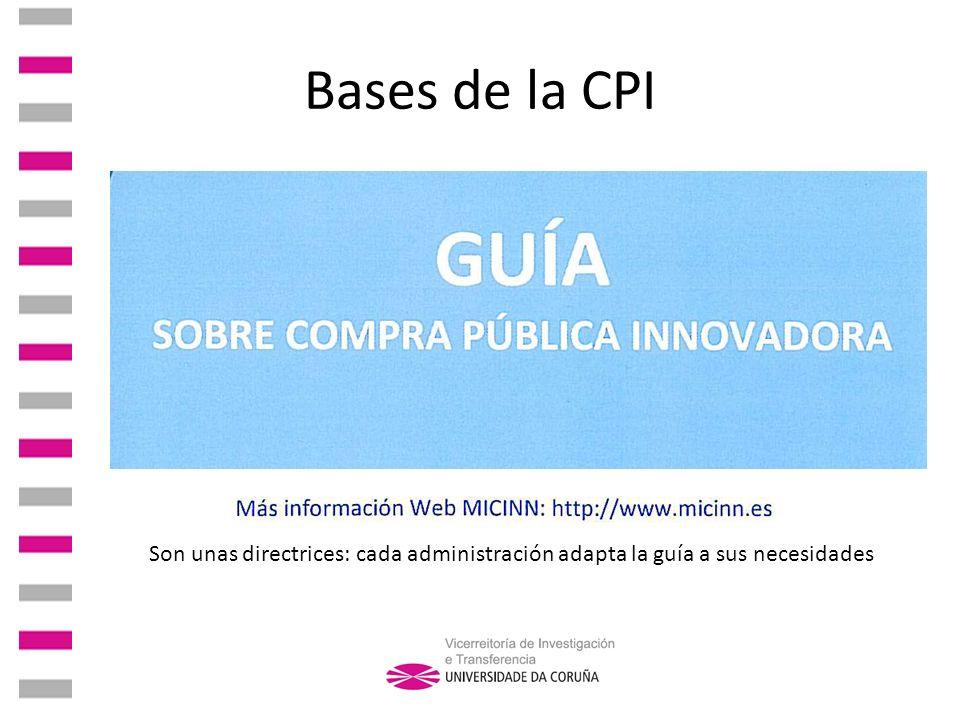 Bases de la CPI Son unas directrices: cada administración adapta la guía a sus necesidades