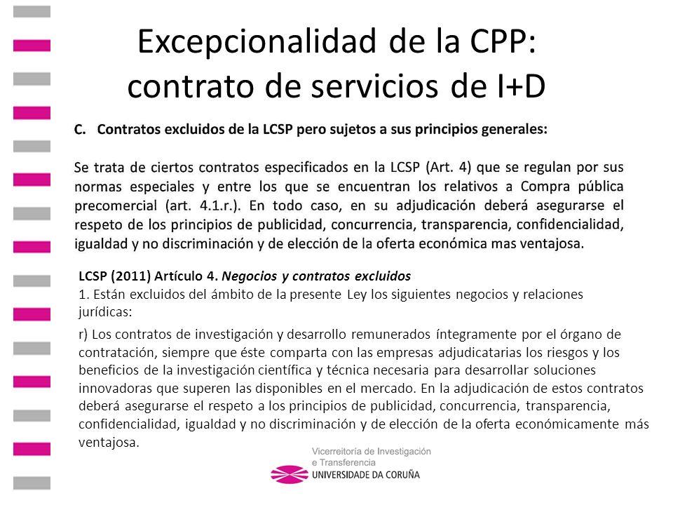 Excepcionalidad de la CPP: contrato de servicios de I+D