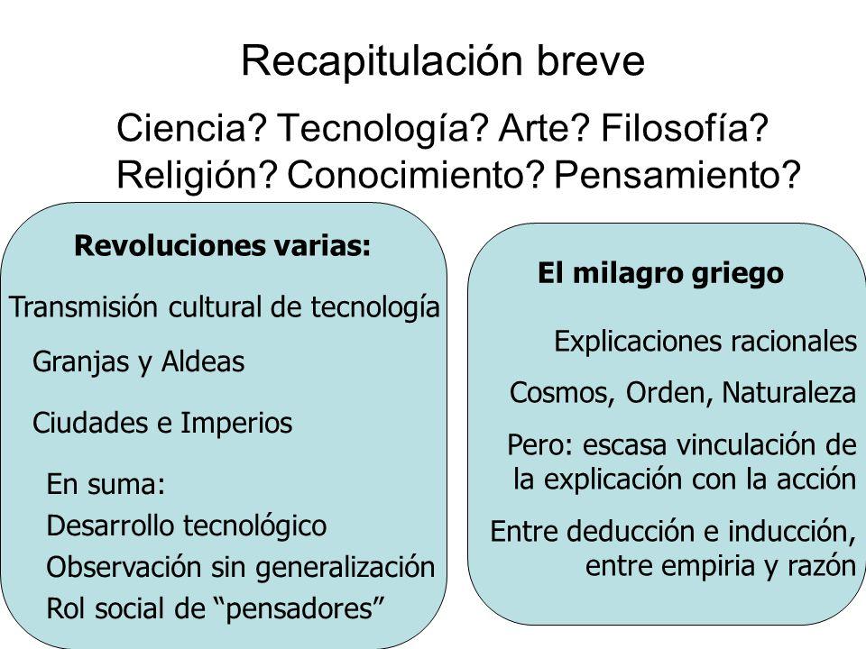 Recapitulación breve Ciencia Tecnología Arte Filosofía Religión Conocimiento Pensamiento Revoluciones varias: