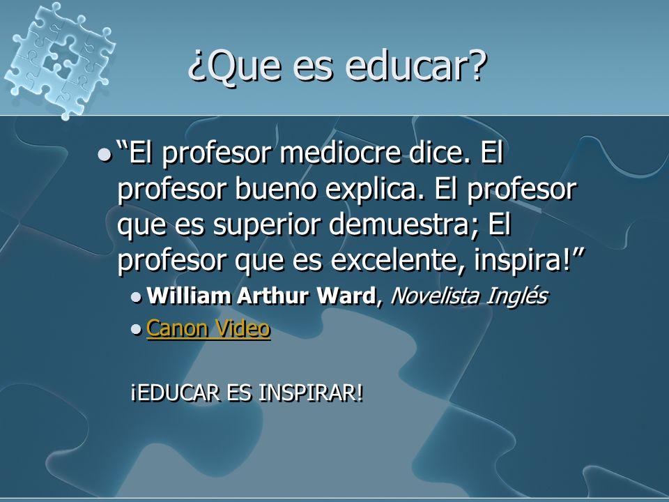 ¿Que es educar El profesor mediocre dice. El profesor bueno explica. El profesor que es superior demuestra; El profesor que es excelente, inspira!