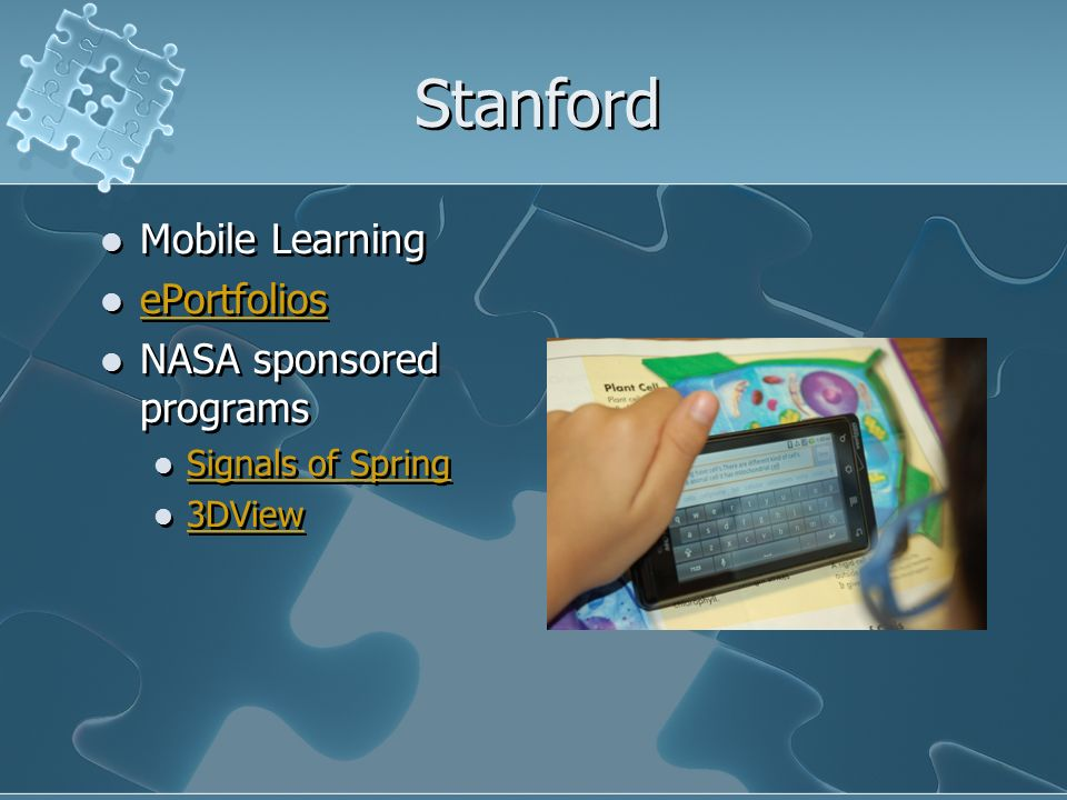 Stanford Mobile Learning ePortfolios NASA sponsored programs