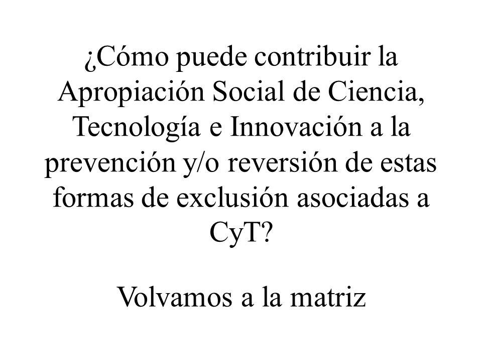 ¿Cómo puede contribuir la Apropiación Social de Ciencia, Tecnología e Innovación a la prevención y/o reversión de estas formas de exclusión asociadas a CyT