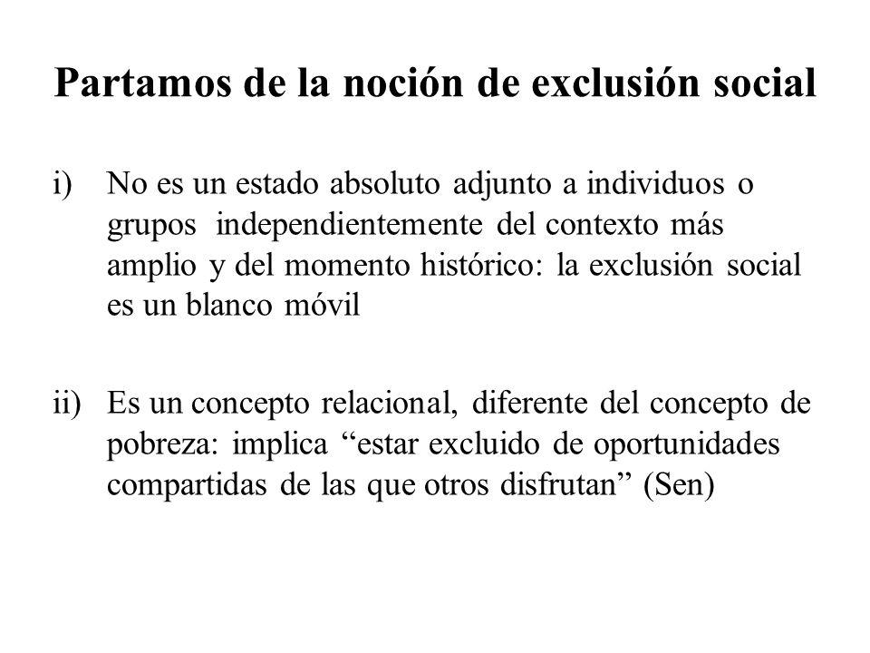 Partamos de la noción de exclusión social
