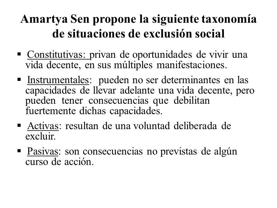 Amartya Sen propone la siguiente taxonomía de situaciones de exclusión social