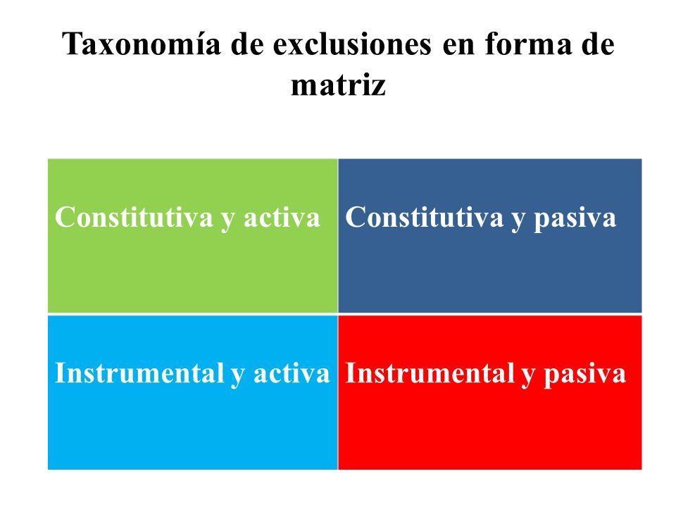 Taxonomía de exclusiones en forma de matriz