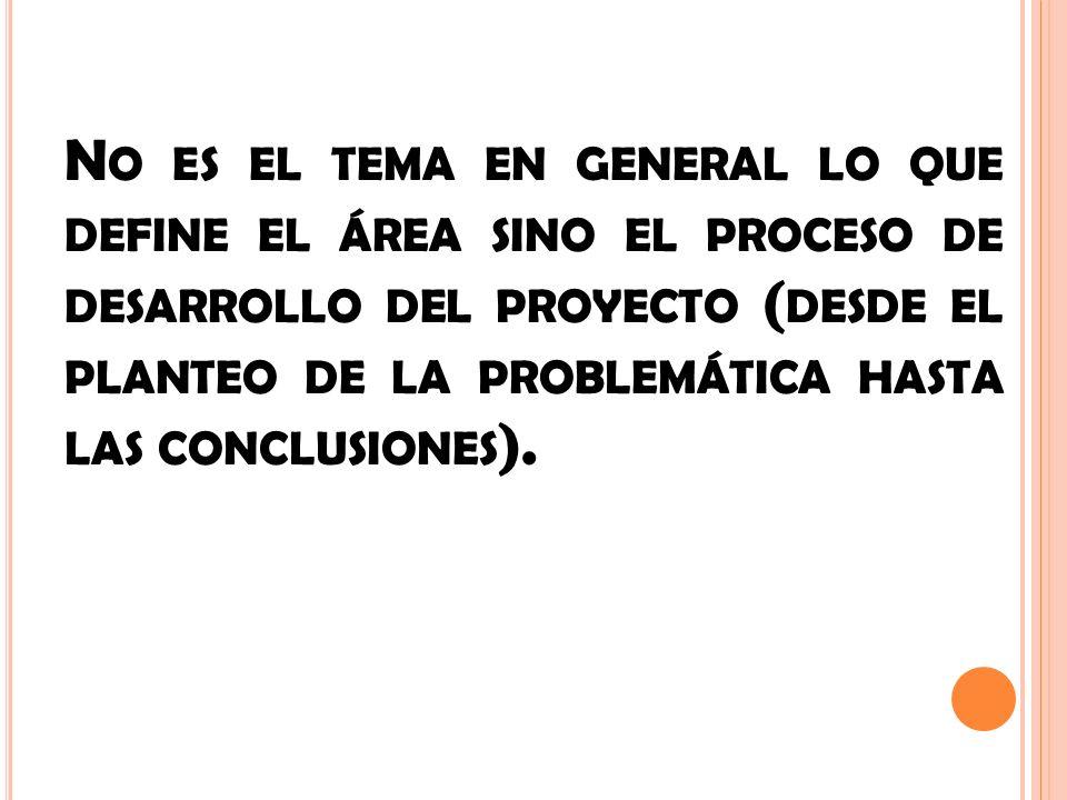No es el tema en general lo que define el área sino el proceso de desarrollo del proyecto (desde el planteo de la problemática hasta las conclusiones).