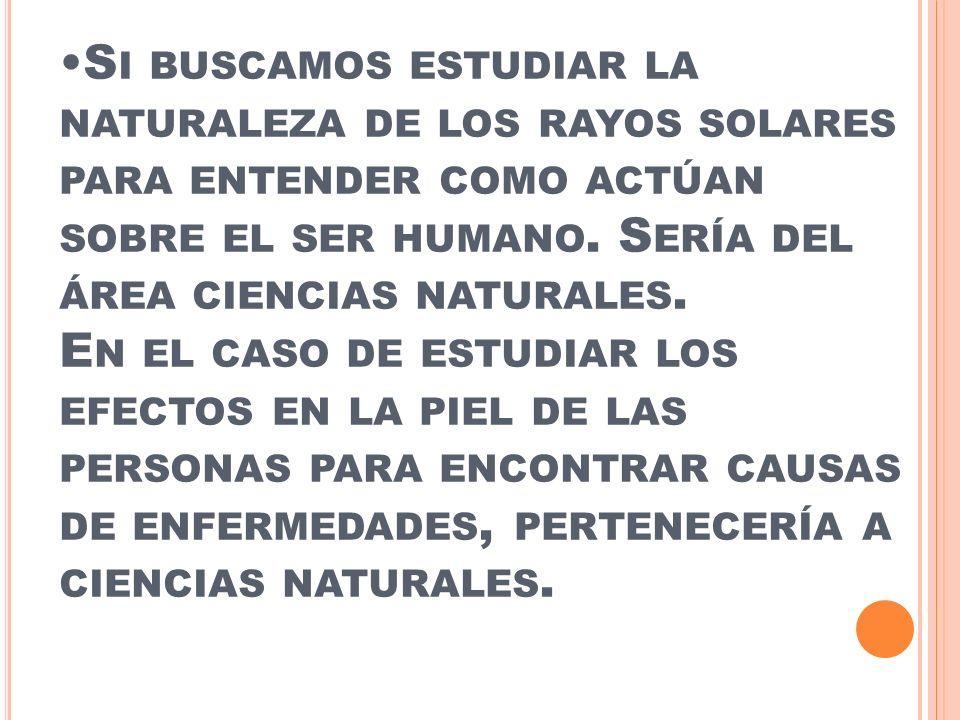 Si buscamos estudiar la naturaleza de los rayos solares para entender como actúan sobre el ser humano.