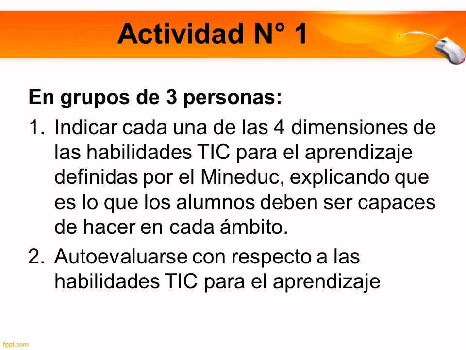 Actividad N° 1 En grupos de 3 personas: