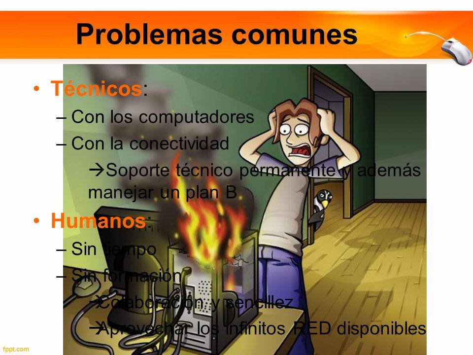 Problemas comunes Técnicos: Humanos: Con los computadores