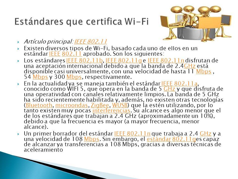 Estándares que certifica Wi-Fi